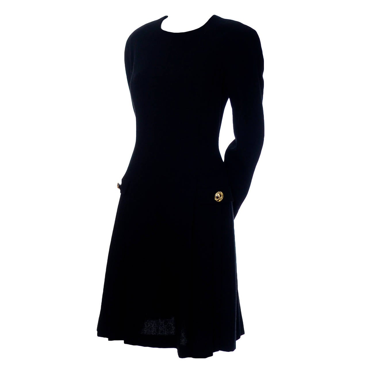 Arnold Scaasi Vintage Dress Black Wool Knit Drop Waist Pleated ...