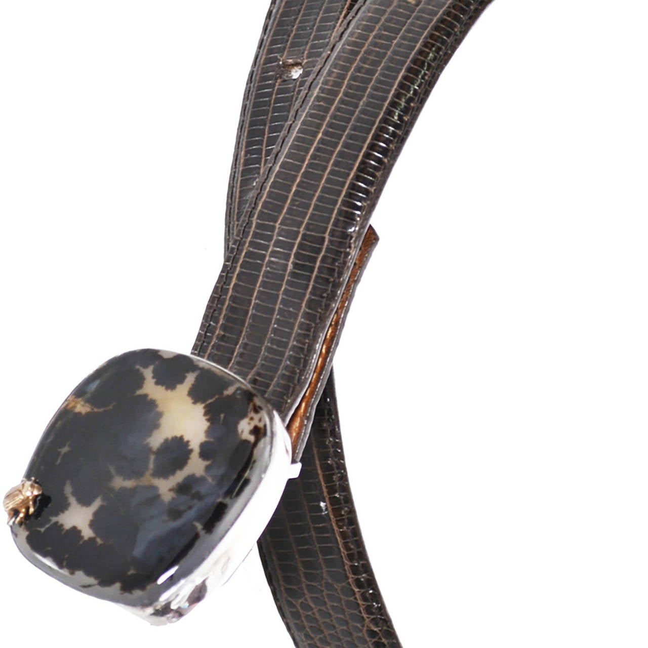 Black Rare Stephen Dweck Lizard Belt Sterling Silver Signed Buckle Spotted Moonstone For Sale
