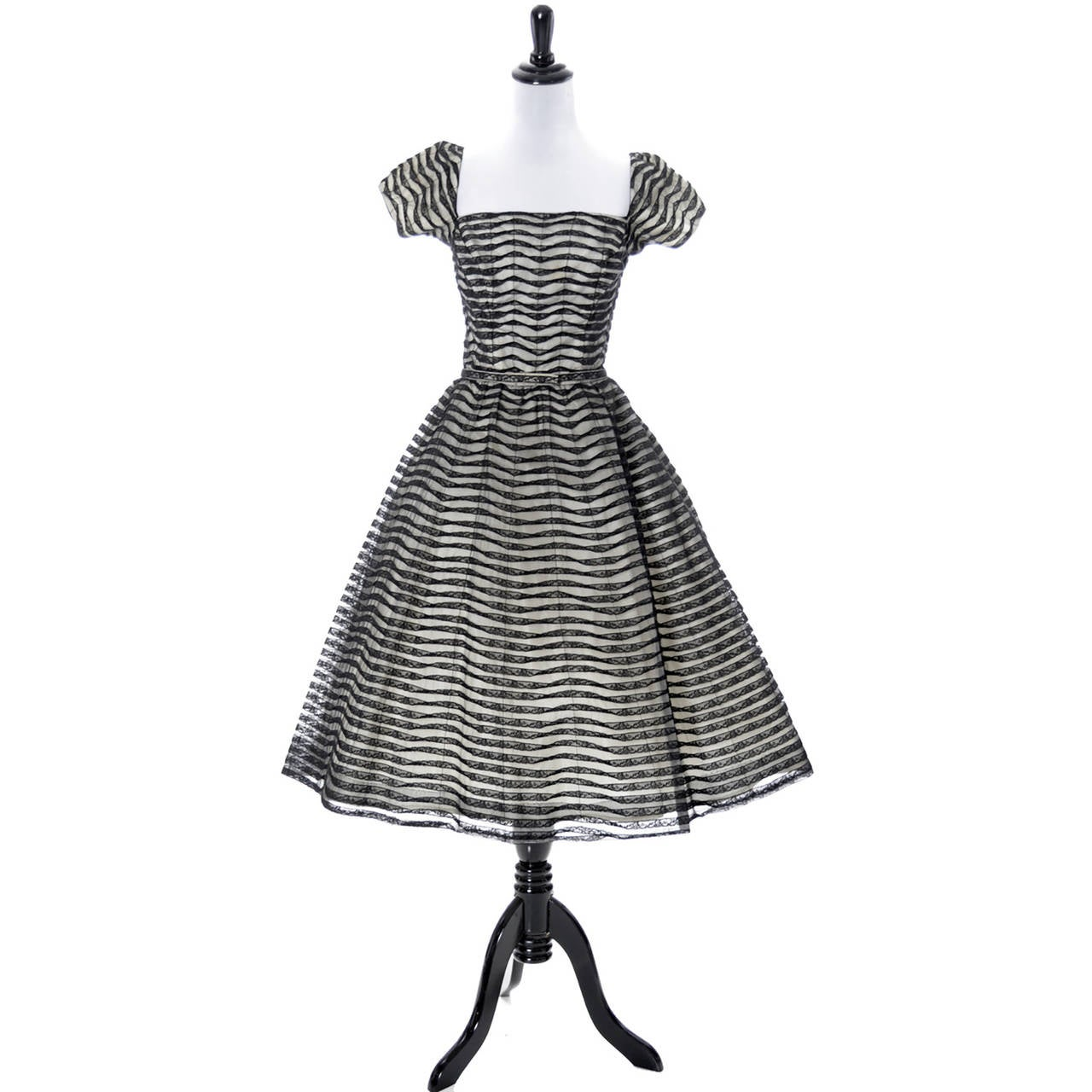 Ceil Chapman 1950s Vintage Dress Lace 50s Party Full Skirt 1950s  4