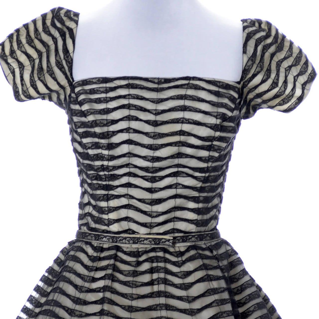 Ceil Chapman 1950s Vintage Dress Lace 50s Party Full Skirt 1950s  2