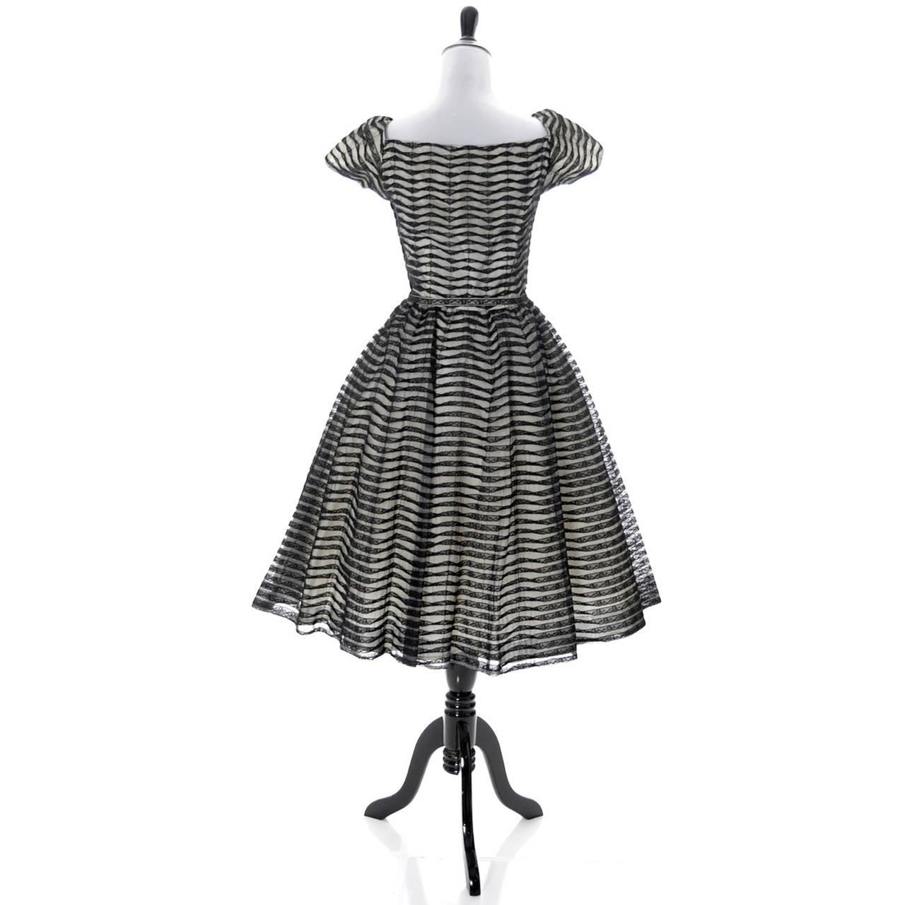 Ceil Chapman 1950s Vintage Dress Lace 50s Party Full Skirt 1950s  3