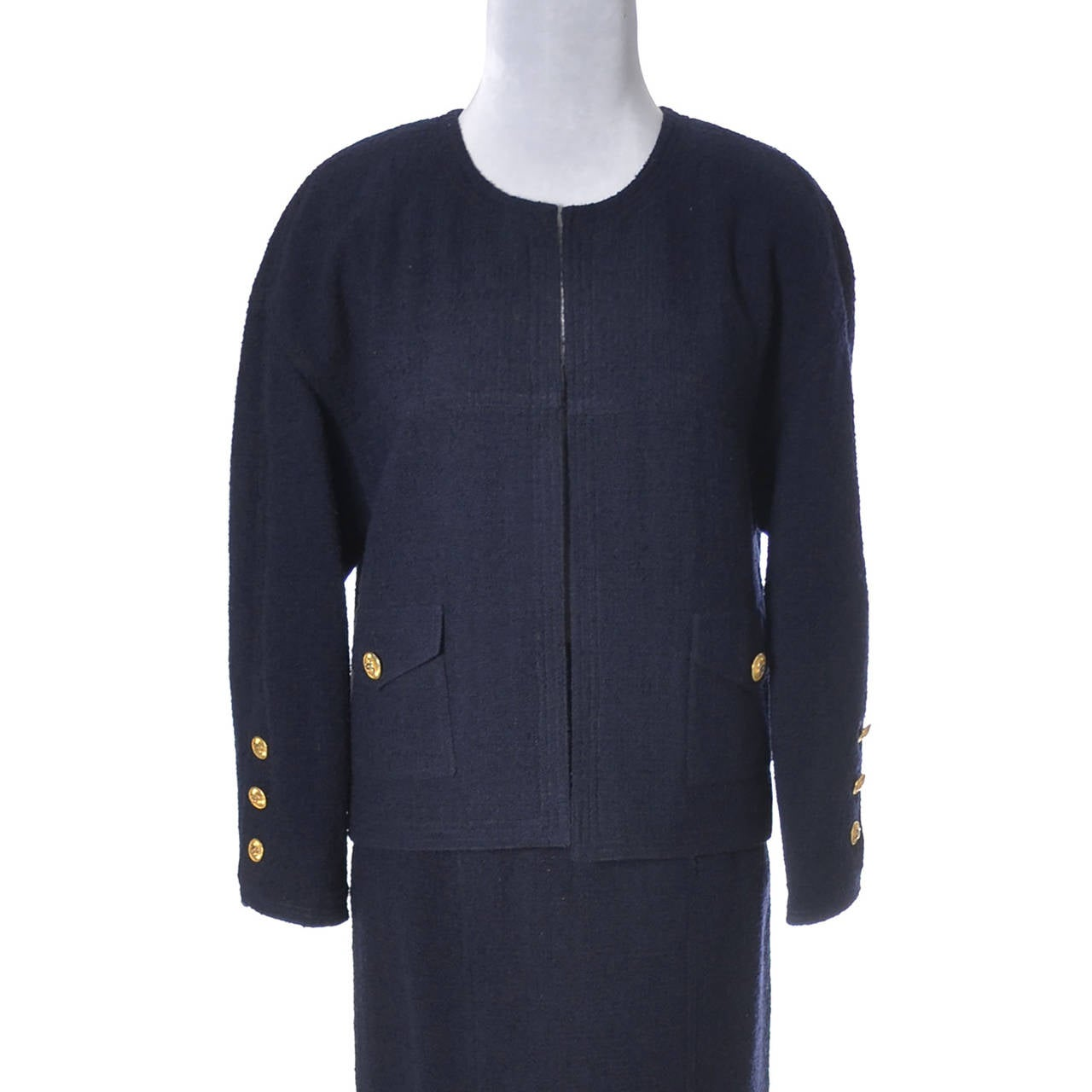 ca845a918c9f Women's Vintage Chanel Skirt & Blazer Suit in Blue Wool Boucle W/ Gold CC  Buttons