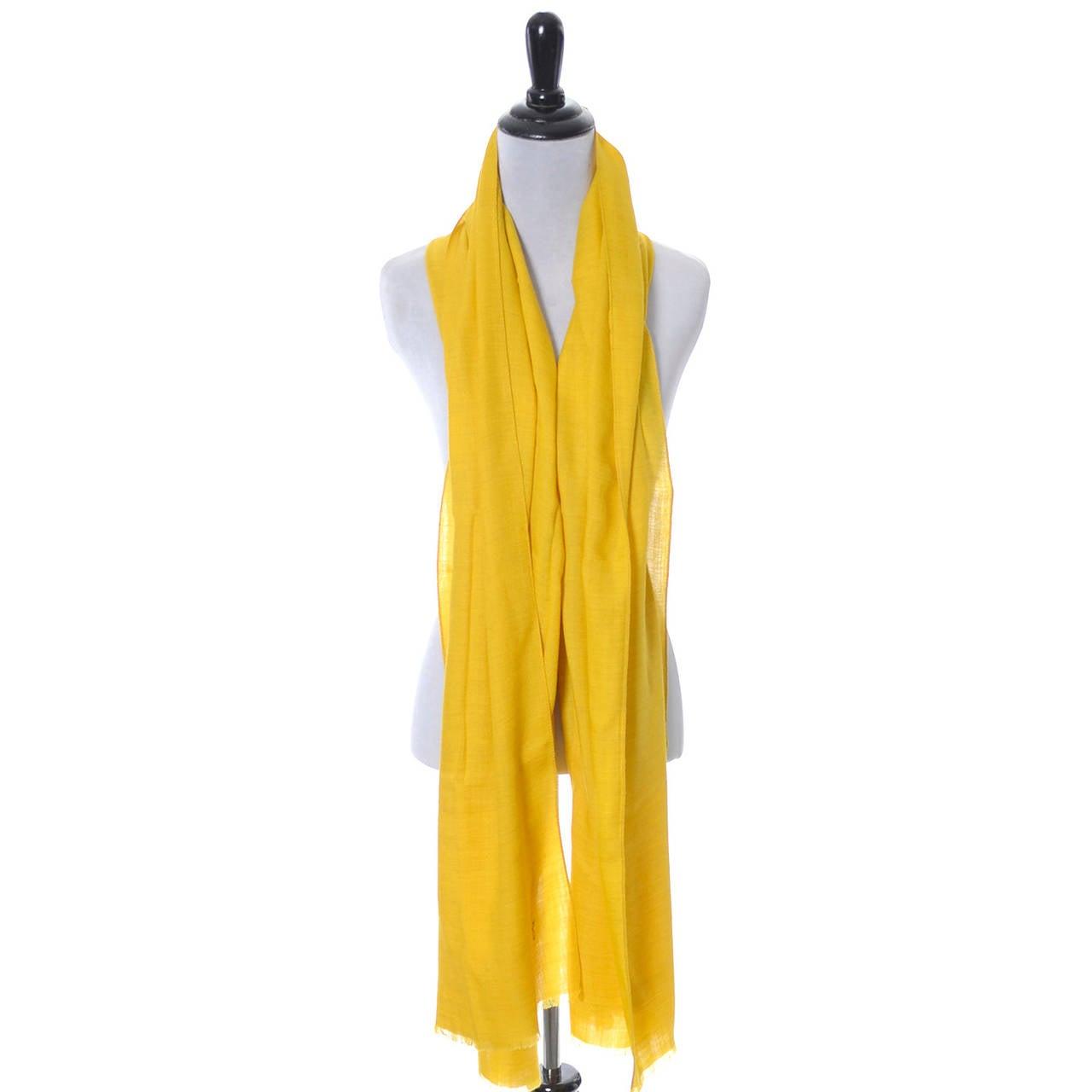 "Women's Kenzo Paris Signature Logo Vintage Scarf Mustard Yellow Wool 80"" Long For Sale"