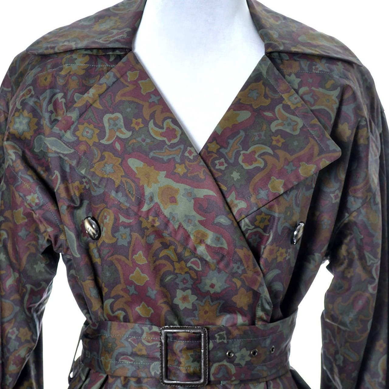 Gray Yves Saint Laurent Rive Gauche Vintage YSL Raincoat Floral Pattern Trench Coat For Sale
