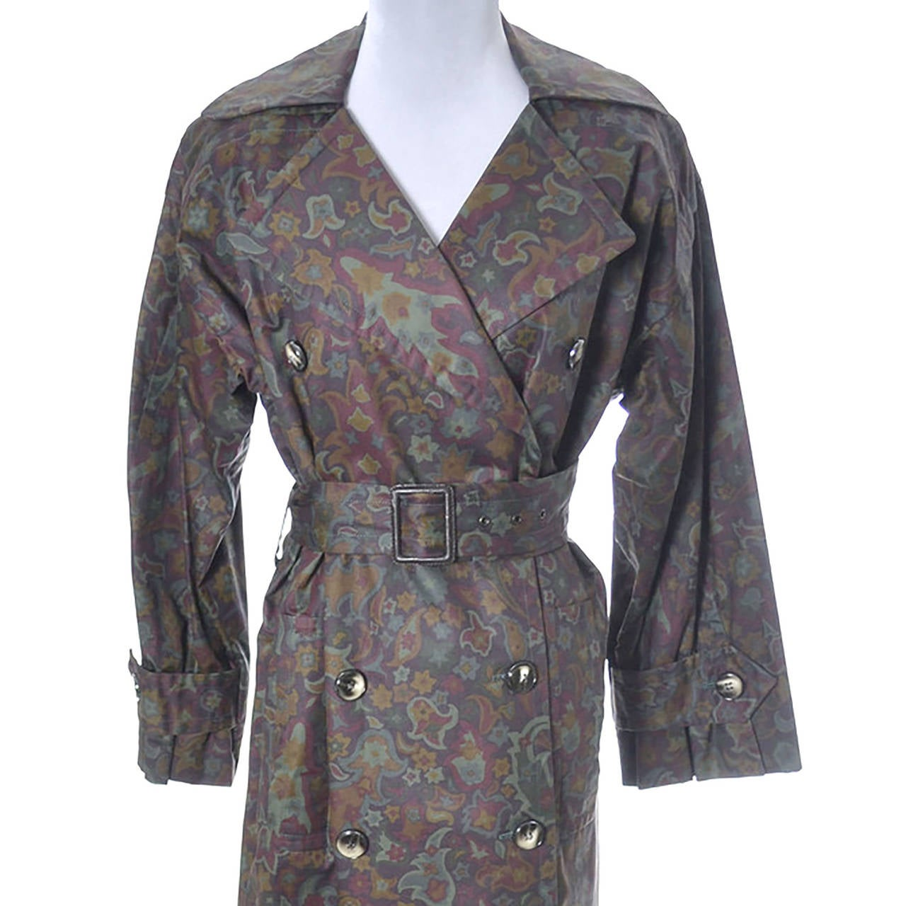 Yves Saint Laurent Rive Gauche Vintage YSL Raincoat Floral Pattern Trench Coat In Excellent Condition For Sale In Portland, OR
