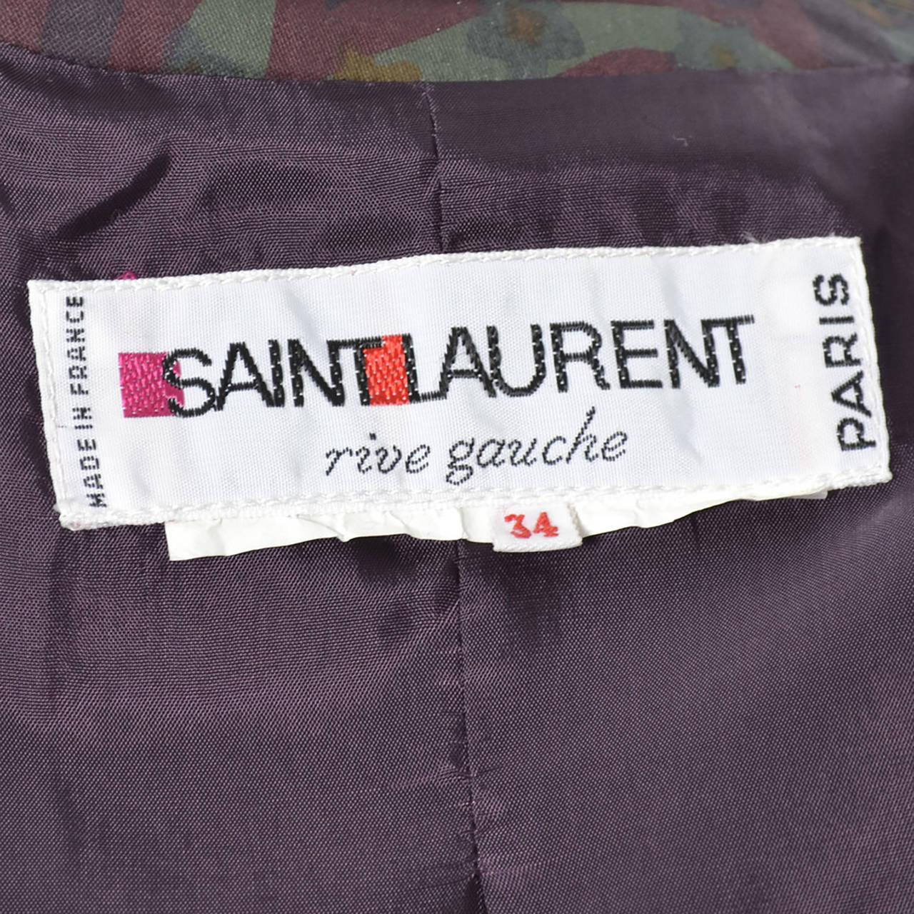 Women's Yves Saint Laurent Rive Gauche Vintage YSL Raincoat Floral Pattern Trench Coat For Sale