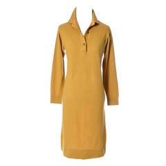 Bonnie Cashin Vintage Mustard Cashmere Sweater Dress Made In Scotland