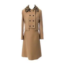 Vintage Dress Jacket Suit Gary Keehn Fur Trim Birnbaums 1960s