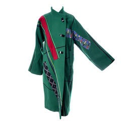 Koos Van Den Akker Vintage Coat Artisan Patchwork Collage Green Wool