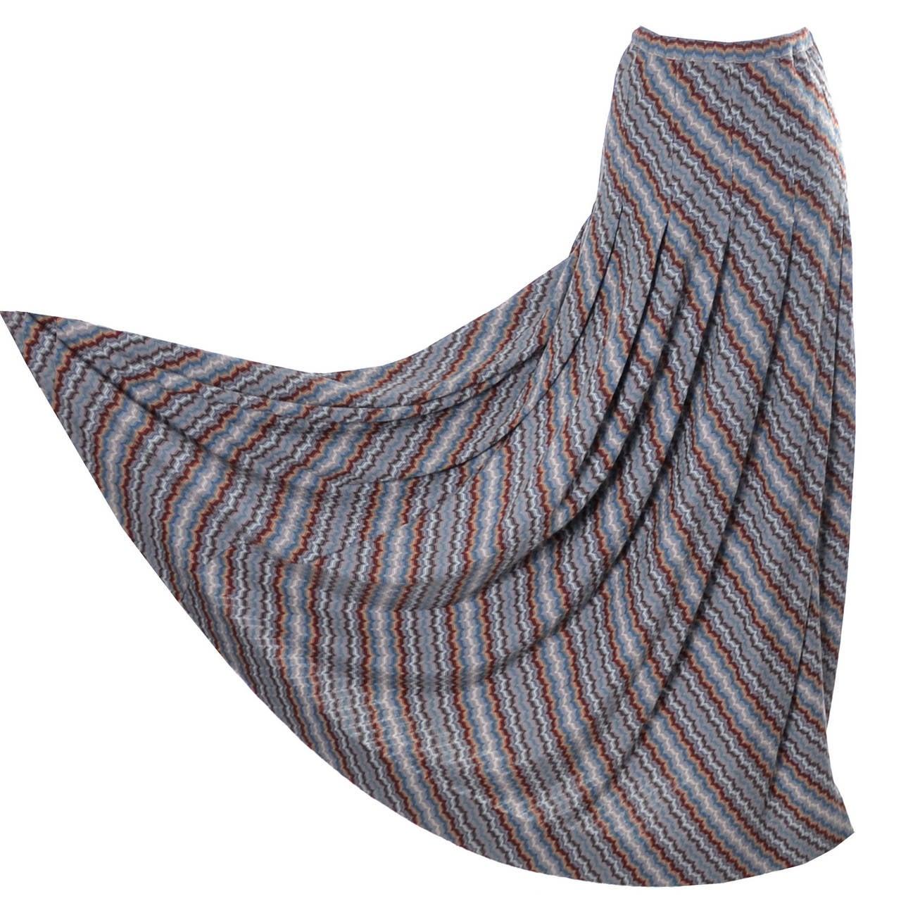 Missoni Italy vintage maxi skirt zig zag stripes 1970s 1