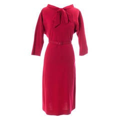 Norman Norell vintage Red Wool Day Dress Bow Belt