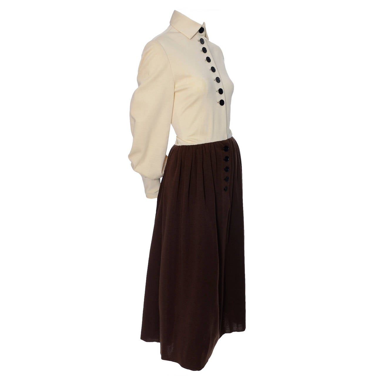 Norman Norell Att Vintage Dress Two Toned Brown Cream Wool