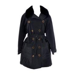 Sonia Rykiel Paris Vintage Jacket Trench Coat Faux Fur Trim Raincoat