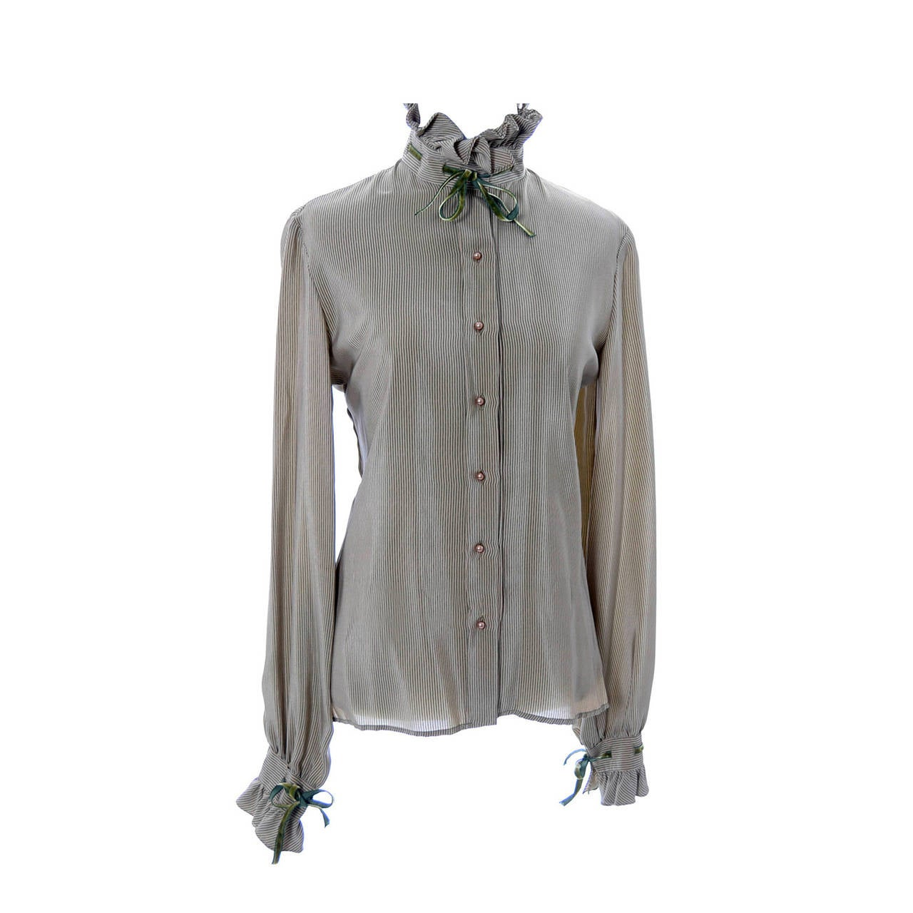 Valentino Boutique Vintage Blouse Green Taupe Silk Velvet Ribbon bow trim For Sale