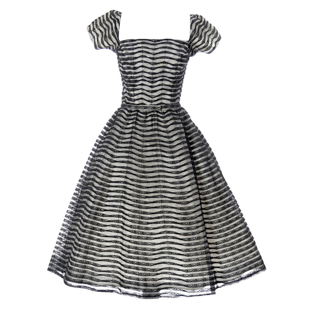 Ceil Chapman 1950s Vintage Dress Lace 50s Party Full Skirt 1950s  1
