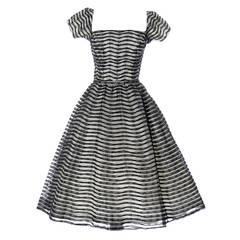 Ceil Chapman 1950s Vintage Dress Lace 50s Party Full Skirt 1950s