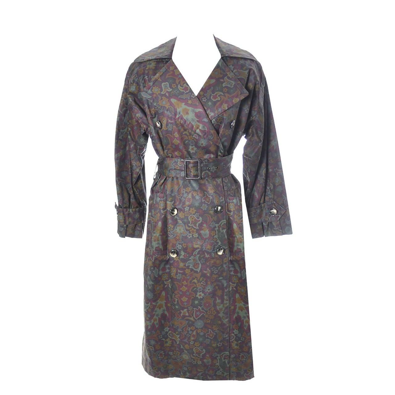Yves Saint Laurent Rive Gauche Vintage YSL Raincoat Floral Pattern Trench Coat For Sale