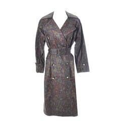 Yves Saint Laurent Rive Gauche Vintage YSL Raincoat Floral Trench Coat