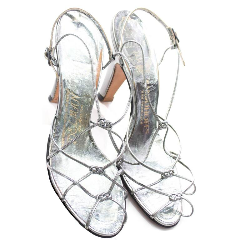 rare delman de luxe metallic vintage shoes ransohoffs strappy 1950s Pink Lady Sweater rare delman de luxe metallic vintage shoes ransohoffs strappy 1950s size 8 heels in excellent condition