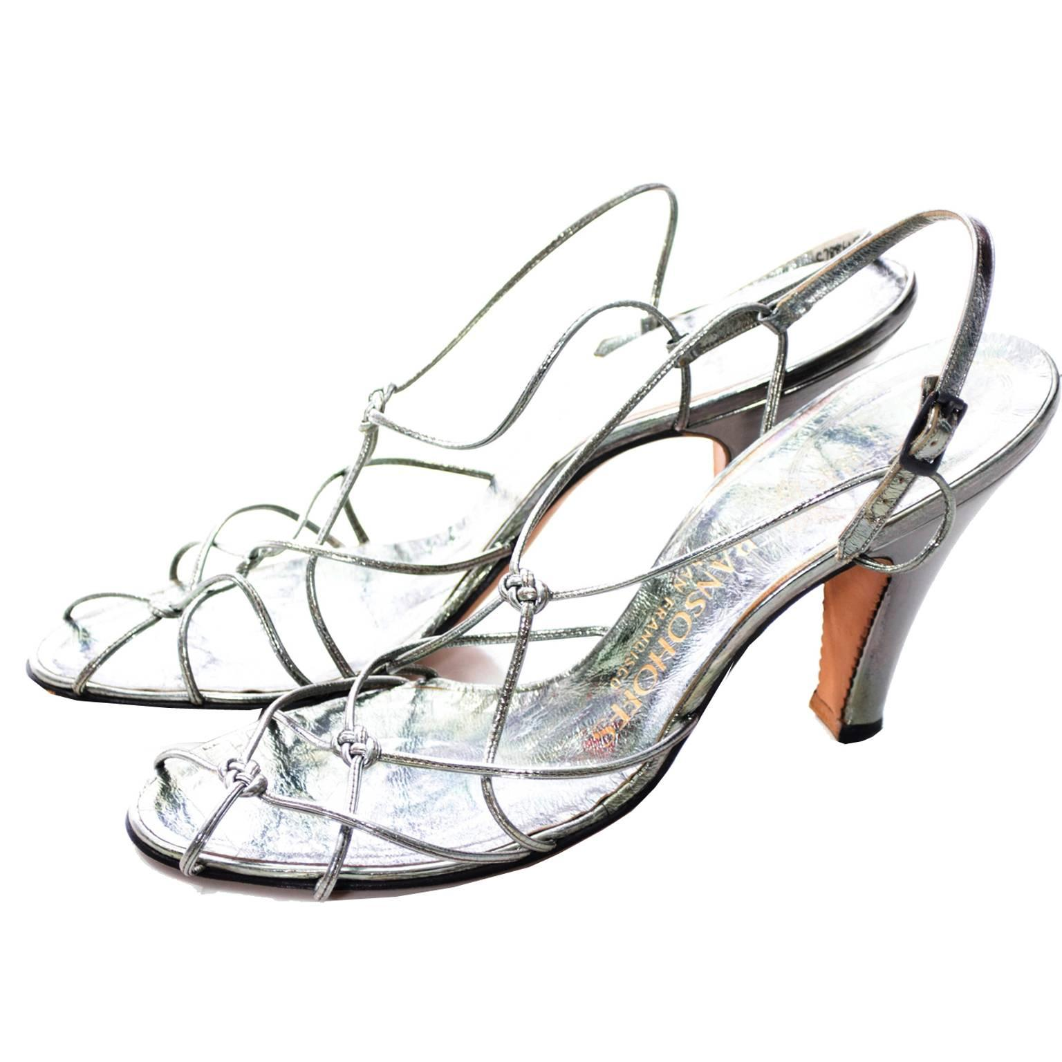 rare delman de luxe metallic vintage shoes ransohoffs strappy 1950s 1950 Shoe Styles rare delman de luxe metallic vintage shoes ransohoffs strappy 1950s size 8 heels at 1stdibs