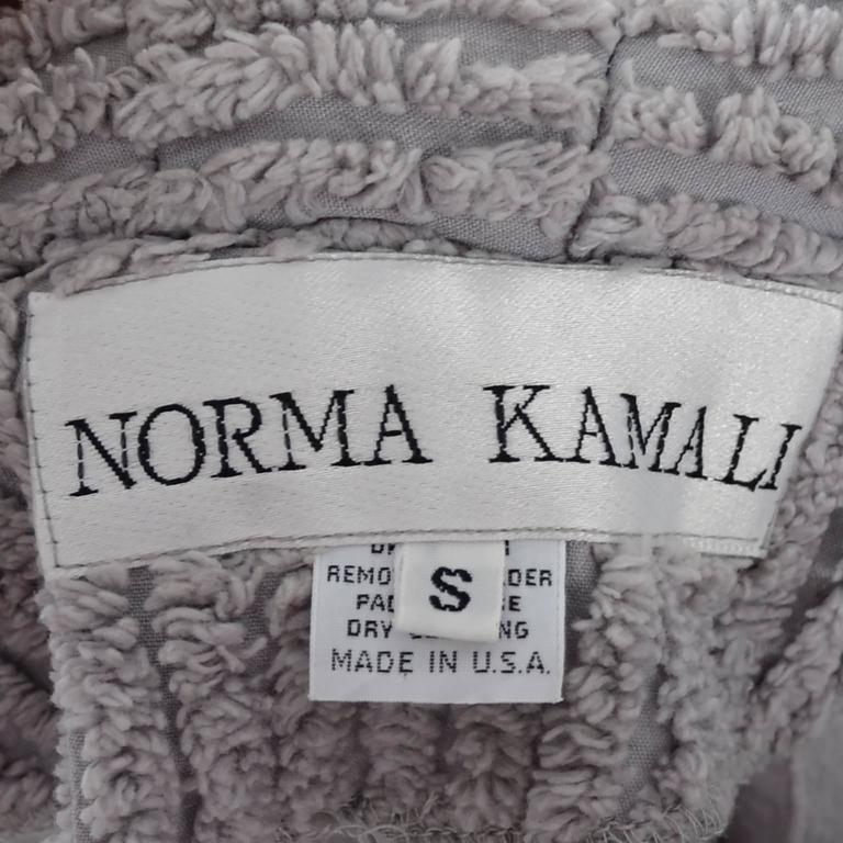 Norma Kamali Rare Vintage Jacket Gray Chenille Shawl Collar 1980s Peplum 5