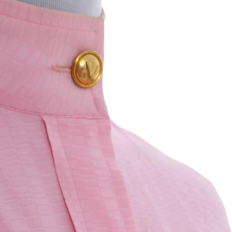 Rare 70s Valentino Pink Silk Bow Blouse V Logo Buttons Older Label Early 1970s 7