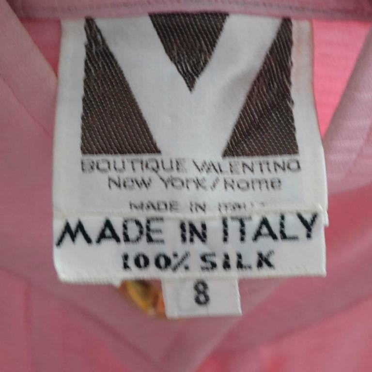 Rare 70s Valentino Pink Silk Bow Blouse V Logo Buttons Older Label Early 1970s 10