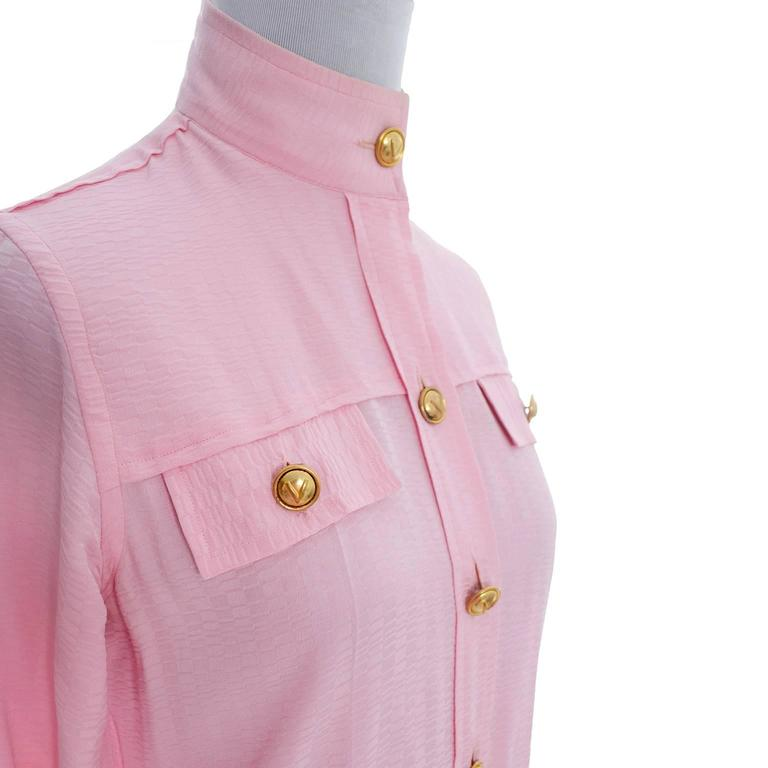 Rare 70s Valentino Pink Silk Bow Blouse V Logo Buttons Older Label Early 1970s 5