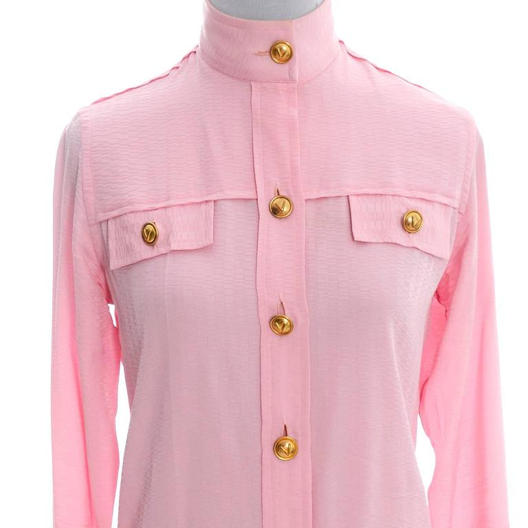 Rare 70s Valentino Pink Silk Bow Blouse V Logo Buttons Older Label Early 1970s 8