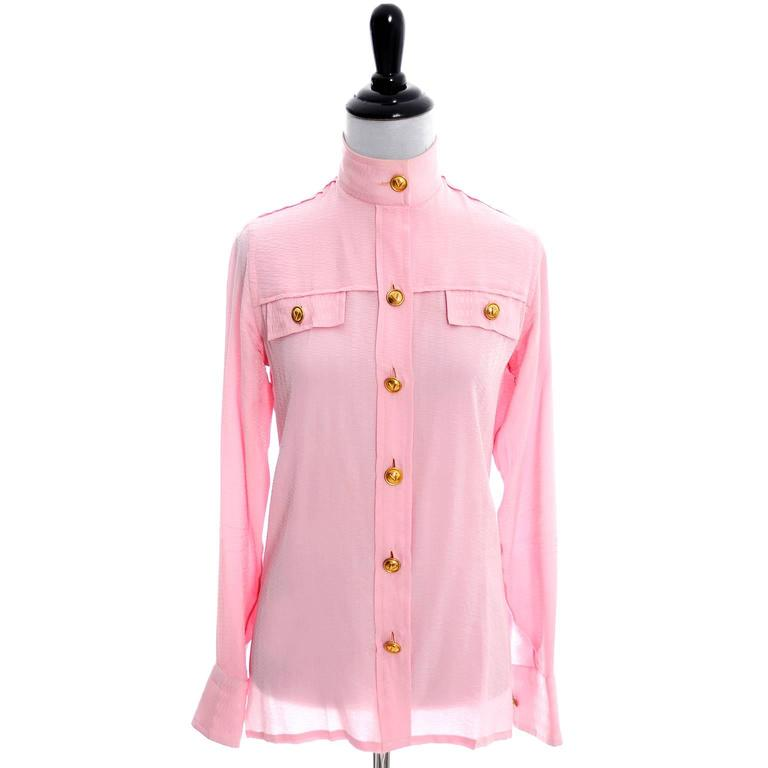 Rare 70s Valentino Pink Silk Bow Blouse V Logo Buttons Older Label Early 1970s 2