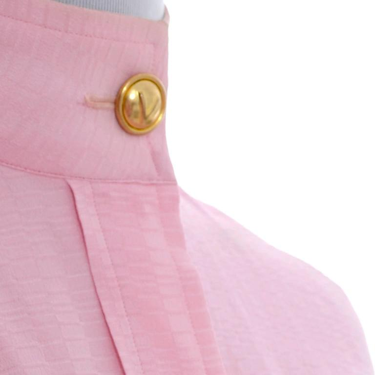 Rare 70s Valentino Pink Silk Bow Blouse V Logo Buttons Older Label Early 1970s 9