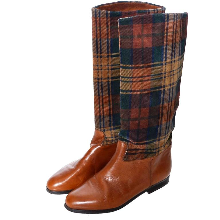 vintage boots saks fifth avenue 1980s plaid boots leather