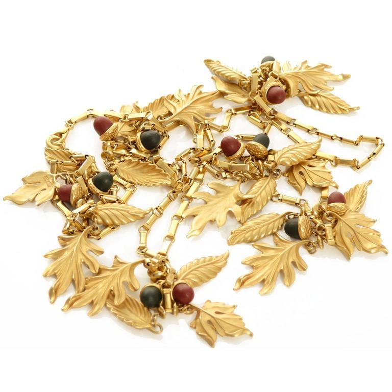 DKNY New York Long Vintage Acorn Leaf Leaves Necklace 4