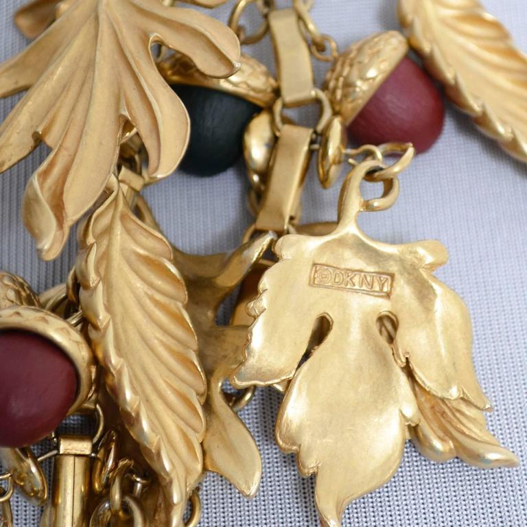 DKNY New York Long Vintage Acorn Leaf Leaves Necklace 6