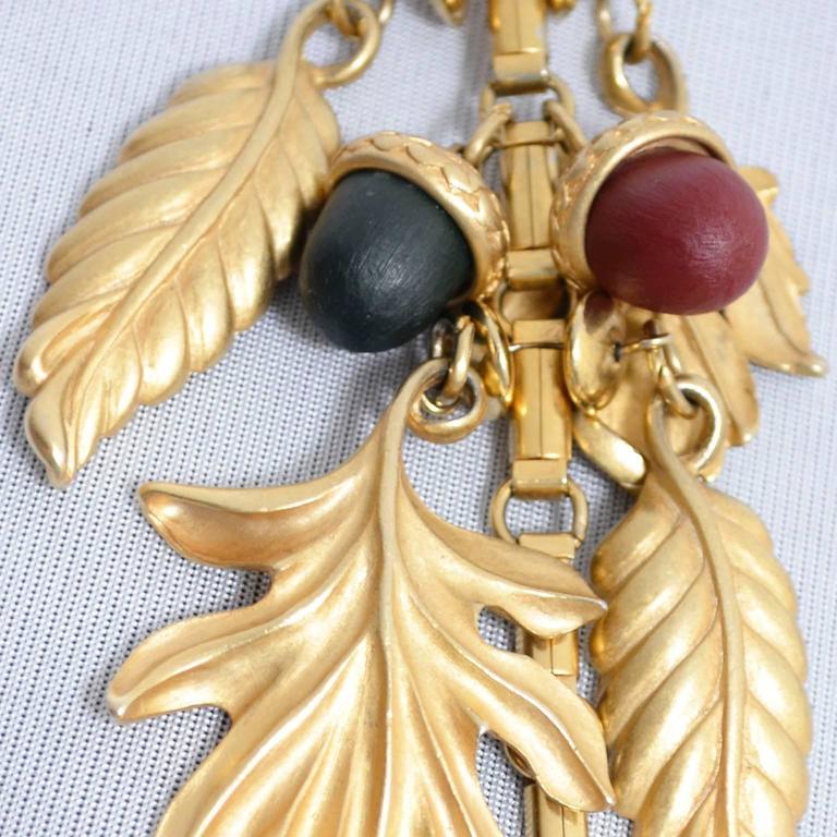 DKNY New York Long Vintage Acorn Leaf Leaves Necklace 5