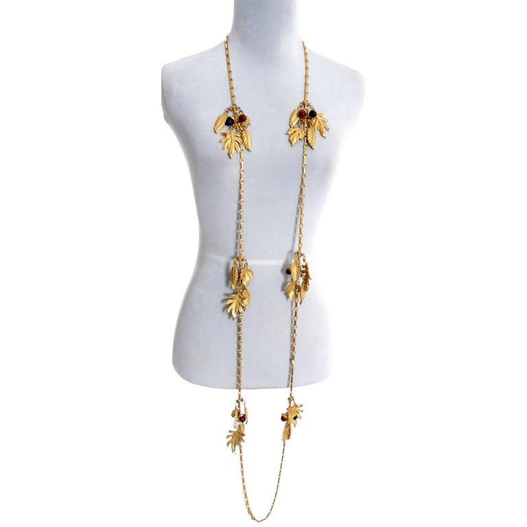 DKNY New York Long Vintage Acorn Leaf Leaves Necklace 2