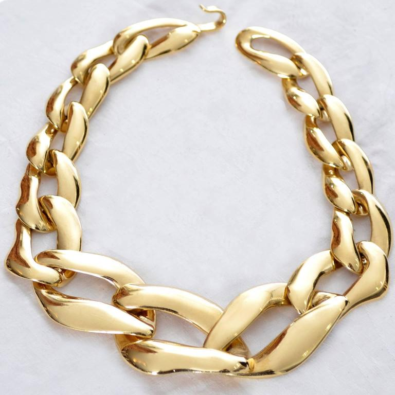 341aecf332e YSL Yves Saint Laurent Vintage Link Necklace Signed Numbered Gold Plated  Chunky In Excellent Condition For