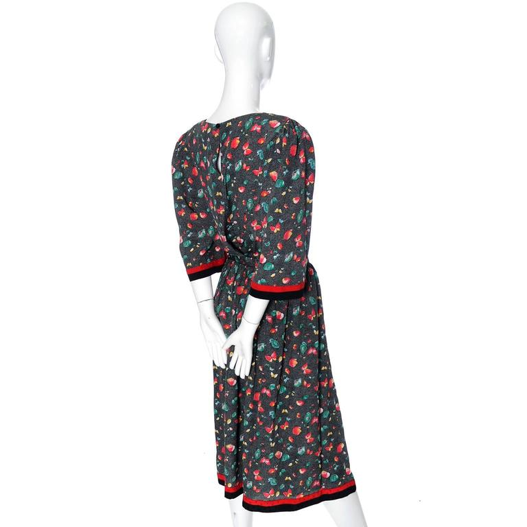 Hanae Mori Vintage Dress 2 Pc Skirt Blouse Butterflies Flowers at ...