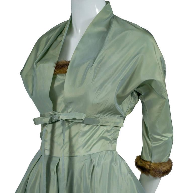 Women's Doops Vintage 1950s 2 Pc Party Dress Bolero Mink Trimmed Sage Green Satin For Sale