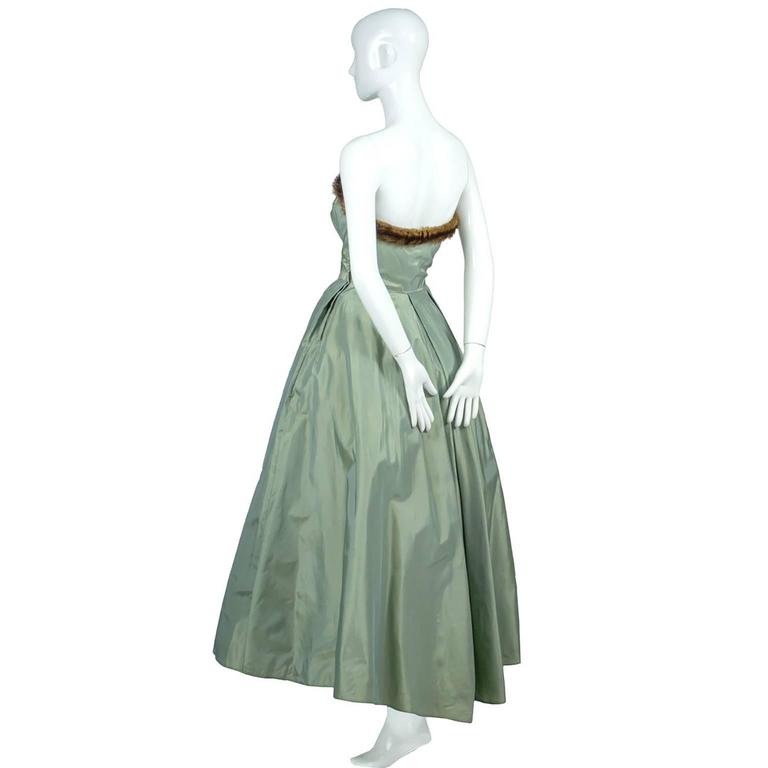Doops Vintage 1950s 2 Pc Party Dress Bolero Mink Trimmed Sage Green Satin In Excellent Condition For Sale In Portland, OR