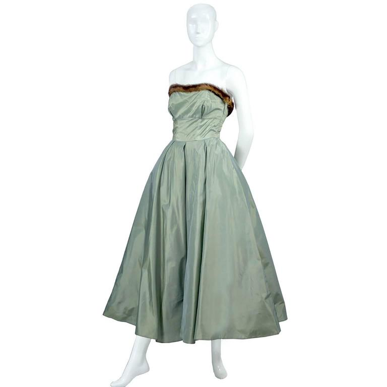 Gray Doops Vintage 1950s 2 Pc Party Dress Bolero Mink Trimmed Sage Green Satin For Sale