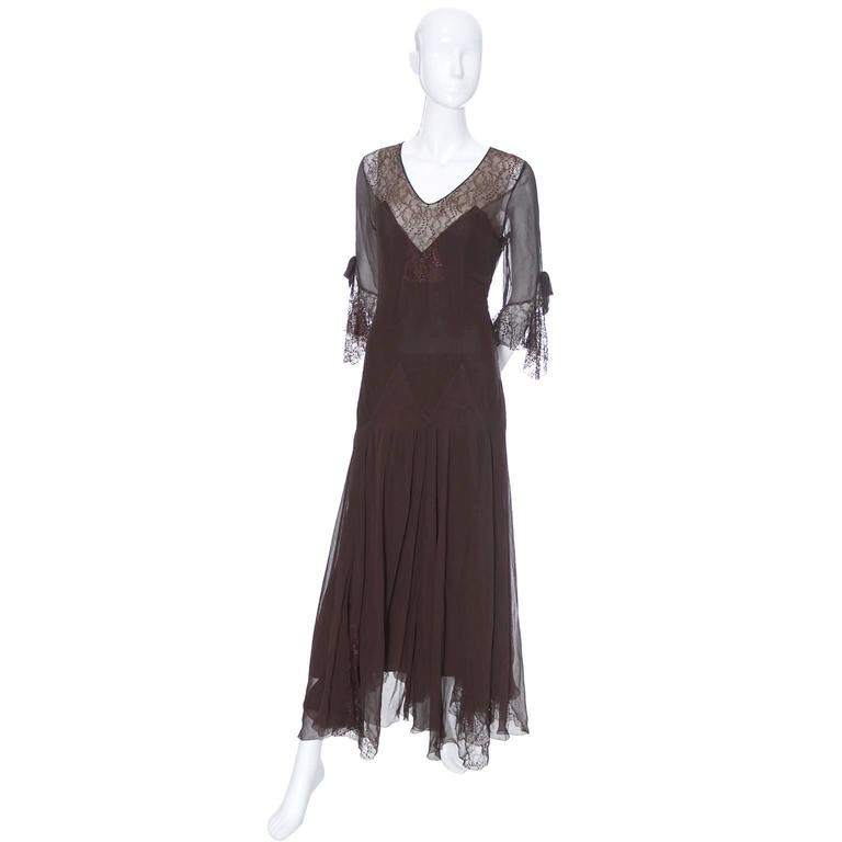 Silk Chiffon Vintage Dress Late 1920s Early 1930\'s Evening Gown Fine ...