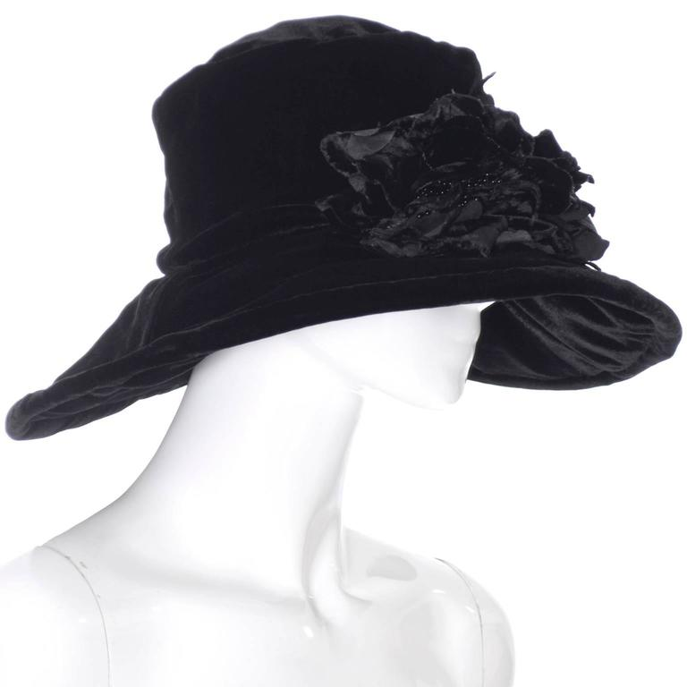 Donna Karan New York Vintage Hat Black Velvet Beaded Flowers Wide Brim NEW Tags 4
