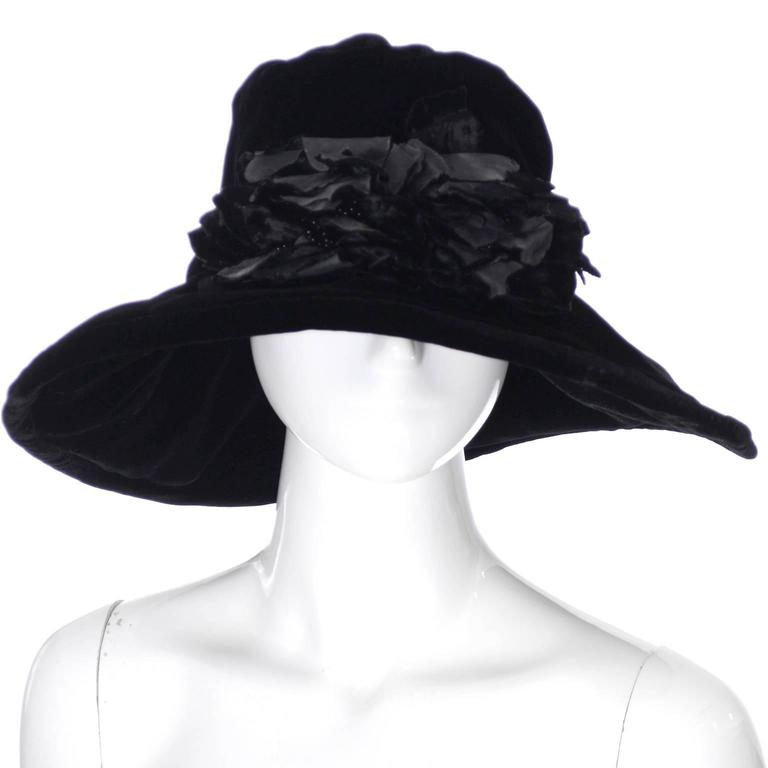 Donna Karan New York Vintage Hat Black Velvet Beaded Flowers Wide Brim NEW Tags 2