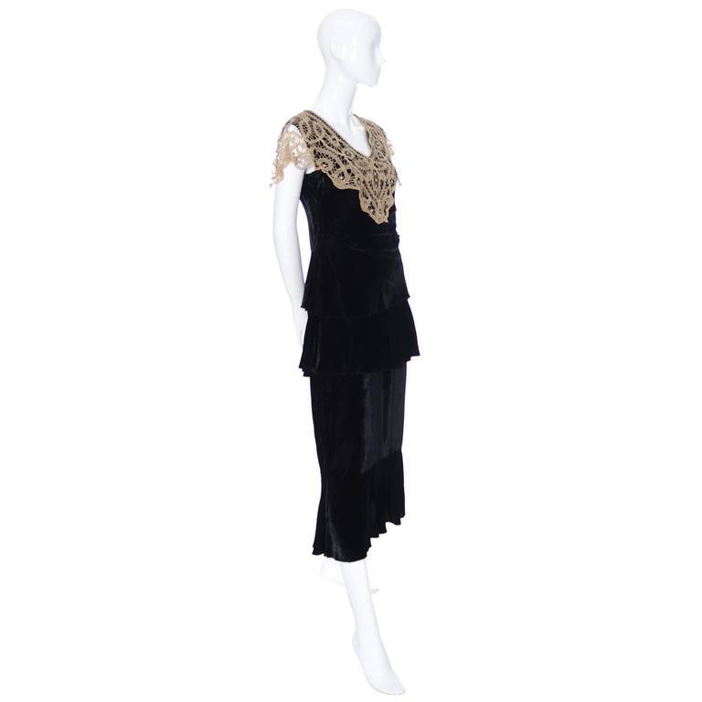 1920s Vintage Dress and Opera Coat Ensemble Suit Outfit Velvet Lace For Sale 1