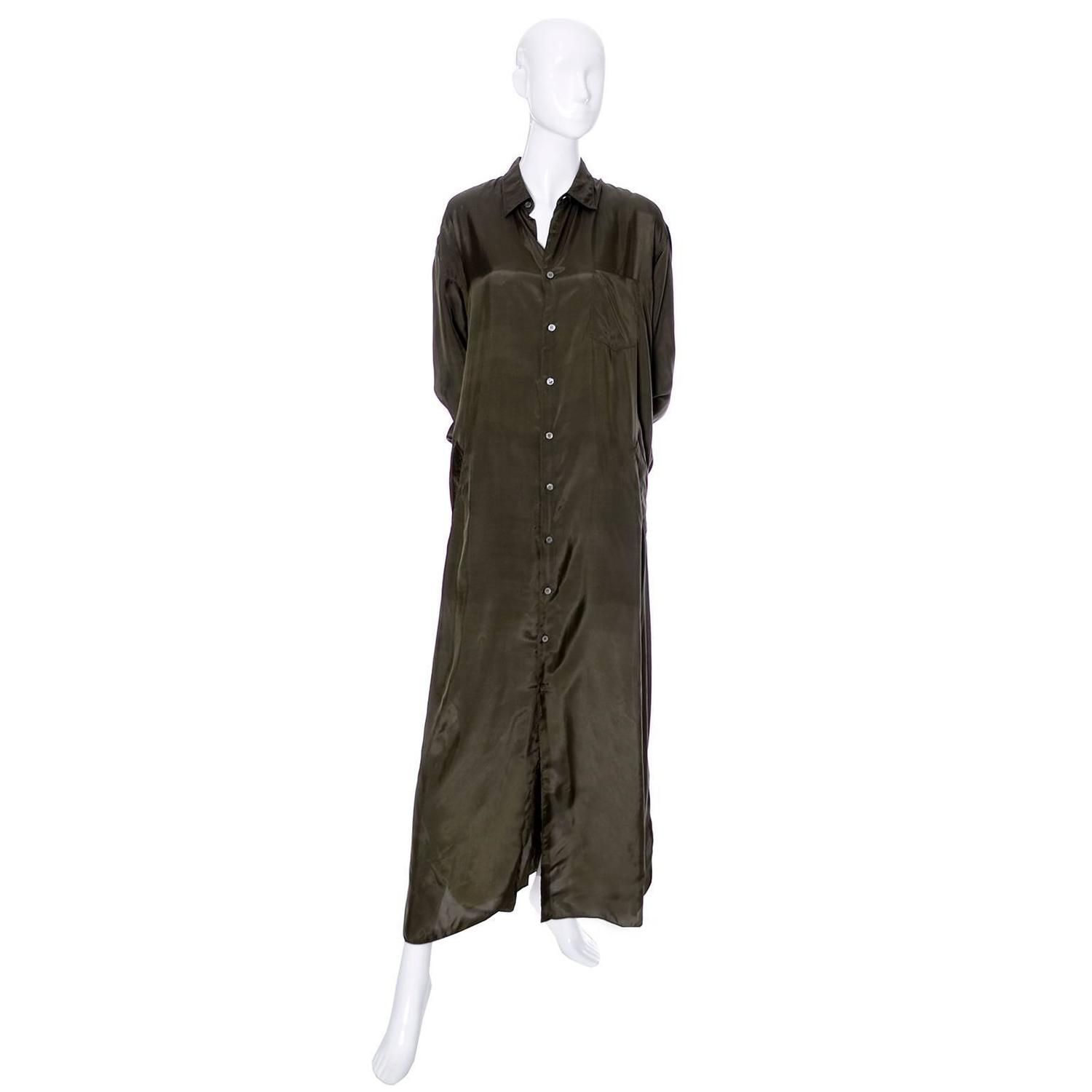 1980s vintage dress or long coat comme des garcons green rayon shirtdress for sale at 1stdibs. Black Bedroom Furniture Sets. Home Design Ideas