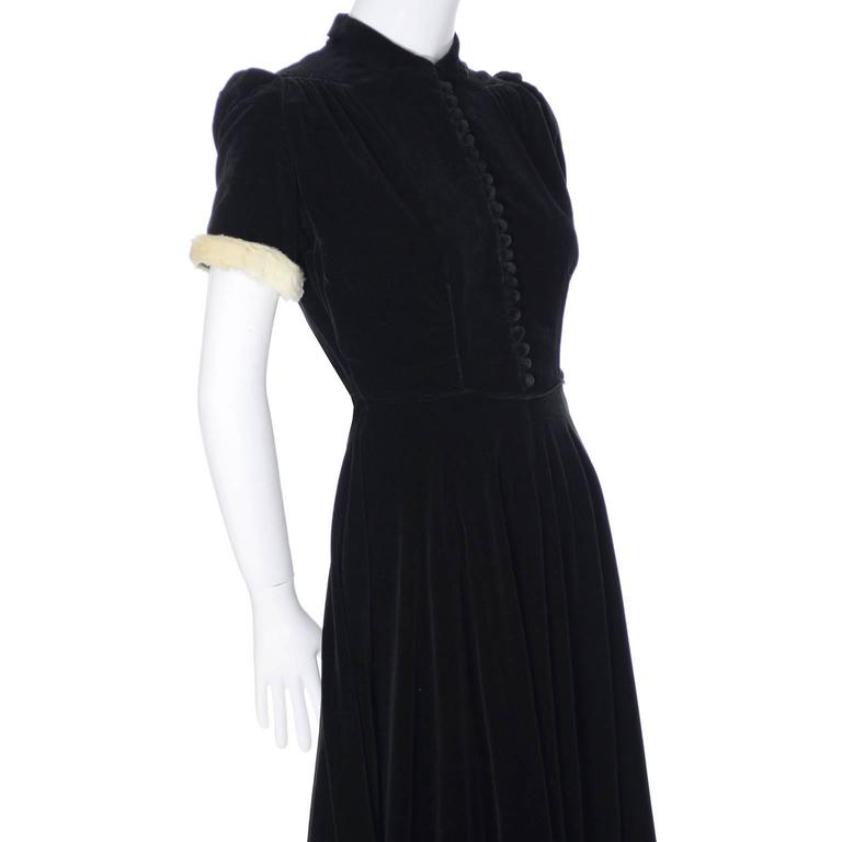 f00441998aa Numbered 1940s John Lewis Vintage Dress Long Black Velvet Evening Gown Fur  Trim In Excellent Condition