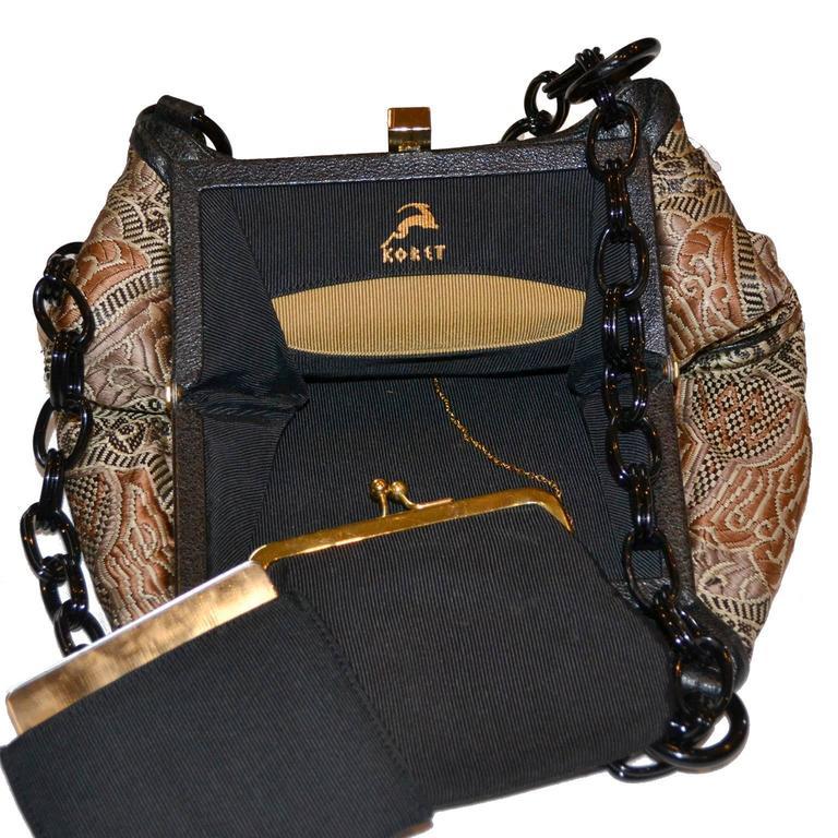 Brown Koret Rare Vintage Handbag Chunky Black Chain Link Strap Unique Print For