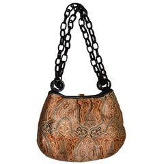 Koret Rare Vintage Handbag Chunky Black Chain Link Strap Unique Print