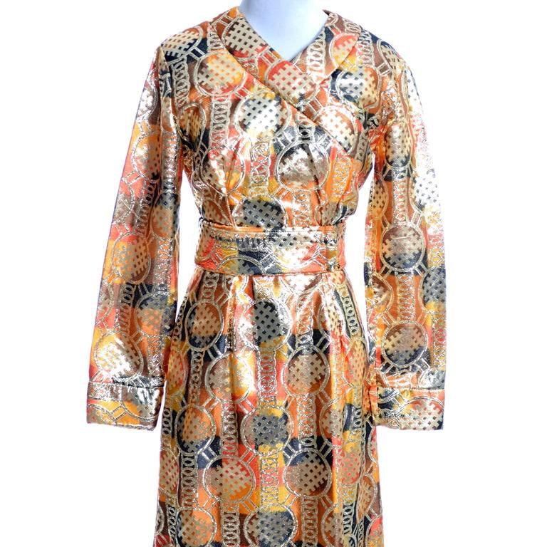 1970s Krist Mod Gold & Copper Lame Metallic Vintage Maxi Dress Asian Inspired In Excellent Condition For Sale In Portland, OR